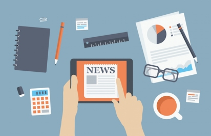 Manager reading news flat illustration