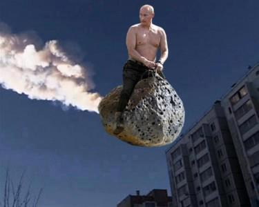putin riding a meteor